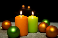 Festive christmas decoration in green and orange Stock Image