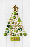 Festive christmas decoration in light green, white and golden co. Lor. Collection of xmas miniatures Royalty Free Stock Photos