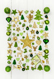 Festive christmas decoration in light green, white and golden co royalty free stock photos