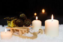 Festive christmas decoration in white Royalty Free Stock Photo