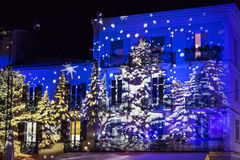 Festive Christmas decorations on facades of buildings in Como, I royalty free stock images