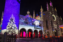 Festive Christmas decorations on facades of buildings in Como, I royalty free stock photos