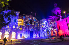 Festive Christmas decorations on facades of buildings in Como, I stock photography