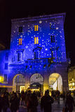 Festive Christmas decorations on facades of buildings in Como, I stock photos