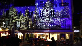 Festive Christmas decorations on facades of buildings in Como, Italy stock video footage