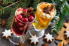 Festive Christmas drinks and cookies, horizontal. Top view Royalty Free Stock Photos