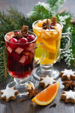 Festive Christmas drinks and cookies Royalty Free Stock Images