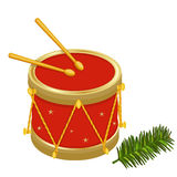 Festive Christmas drums. And fir tree branch. Vector illustration saved as EPS AI 8 is now pending Dreamstime inspection Stock Image