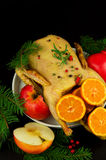Festive Christmas duck baked with apples and mandarins Stock Image