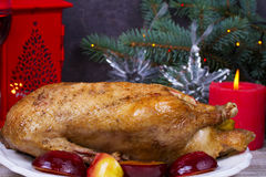 Festive Christmas duck baked with apples and plums: glasses of wine Stock Photo