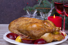 Festive Christmas duck baked with apples and plums: glasses of wine. Royalty Free Stock Photo