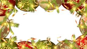 Christmas frame for the New Year balls, Christmas tree decorations and fir branches gold ribbons on white. Vector background royalty free illustration