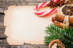 Festive Christmas frame with vintage paper Royalty Free Stock Photo