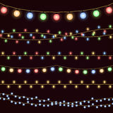 Festive christmas garland lights, fairy xmas vector decor. Decoration for christmas holiday and new year illustration Royalty Free Stock Images