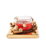 Festive Christmas gel candle isolated Royalty Free Stock Photography