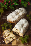 Festive Christmas German Stollen Bread Royalty Free Stock Images