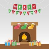 Festive christmas gifts and decorated fireplace for season`s gre. Etings and new year invitations. Paper art style. Vector illustration Royalty Free Stock Photo
