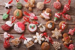 Festive Christmas gingerbread cookies close-up. orizontal top vi Stock Photos