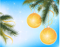 Festive christmas globes. Hanging on leaves. Blue background Stock Images