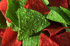 Festive Christmas Green and Red Tortilla Chips. With Salsa Stock Photo