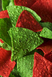 Festive Christmas Green and Red Tortilla Chips Stock Photography