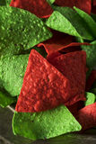 Festive Christmas Green and Red Tortilla Chips. With Salsa Royalty Free Stock Image
