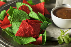 Festive Christmas Green and Red Tortilla Chips. With Salsa Stock Photography