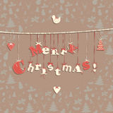Festive Christmas greeting card with seamless pattern in vintage Stock Image