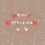 Festive Christmas greeting card with seamless pattern in vintage Stock Images