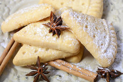 Festive Christmas holiday shortbread. Stock Photo