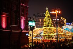 Festive Christmas illumination and decorations on streets-December 26th 2018, Moscow, Russia. Festive Christmas illumination and decorations on streets of stock photo