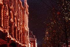 Festive Christmas illumination and decorations on streets. Of  Moscow- capital of Christmas, Russia stock photos