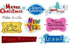 Festive Christmas inscriptions. Congratulatory Christmas and New Year's inscriptions Royalty Free Stock Images