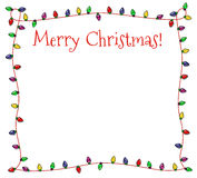 Festive Christmas Lights Frame. Colorful Christmas frame of multicolored lights Stock Photo