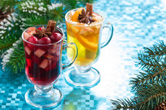 Festive Christmas mulled wine and apple cider Royalty Free Stock Images