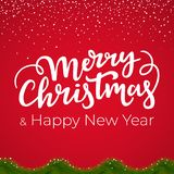 Festive Christmas and New Year background with handwritten type. Festive Christmas and New Year background with handwritten type stock illustration