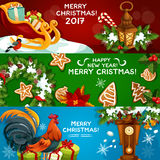 Festive Christmas and New Year banner set. Gift box, xmas tree wreath with holly berry, candy cane and bell, gingerbread cookie, lantern, rooster, poinsettia Stock Photo
