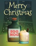 Christmas and New Year card template. Festive Christmas and New Year card invitation banner template, traditional cozy warm home scene, christmas eggnog bottle Royalty Free Stock Photography