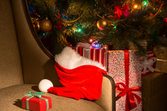 Festive Christmas, New Year's interior with presents and santa h Stock Photo