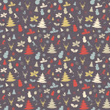 Festive Christmas and New Year seamless pattern in vintage flat Royalty Free Stock Photos