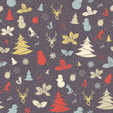 Festive Christmas and New Year seamless pattern in vintage flat Stock Image