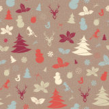 Festive Christmas and New Year seamless pattern in vintage flat Stock Photos