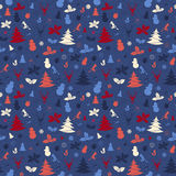 Festive Christmas and New Year seamless pattern in vintage flat Royalty Free Stock Image