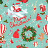 Festive Christmas and New Year seamless pattern in vintage flat Royalty Free Stock Images