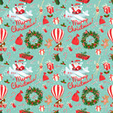 Festive Christmas and New Year seamless pattern in vintage flat Royalty Free Stock Photo