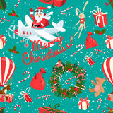 Festive Christmas and New Year seamless pattern in vintage flat Stock Photo