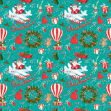Festive Christmas and New Year seamless pattern in vintage flat Stock Images