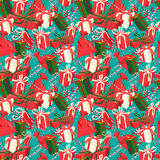 Festive Christmas and New Year seamless presents pattern in vint. Vector illustration Festive Christmas and New Year seamless presents pattern in vintage flat Royalty Free Stock Photos