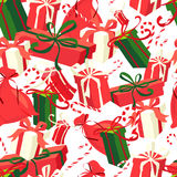 Festive Christmas and New Year seamless presents pattern in vint Stock Image