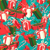 Festive Christmas and New Year seamless presents pattern in vint Stock Photography